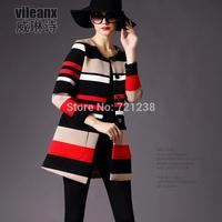 2014 Autumn Winter  Women coat new style european stripe women's trench coat discount sales promotion J039