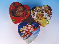 Free Shipping 3pcs Heart shaped Christmas Gift Box paper merry Christmas gift box packaging for new year Party Decorations 9002