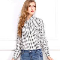 New 2014 long sleeve casual chiffon blouse autumn winter polka dot print women shirt plus size black blusa camisa women tops K27