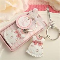 2014 NEW ARRIVAL Cute Baby Girl Clothes Key Chain Pink Keychain Baby Gift Favors +30pcs/lot+FREE SHIPPING