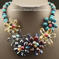 Handmade Fashion Jewellery Blue Green Crystals Big Flower Pendant Statement Beads Chain Collar Choker Necklaces for Women Girls