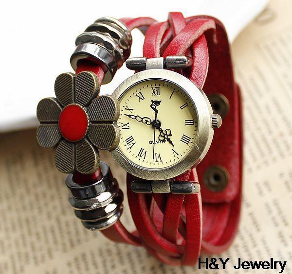 Women genuine leather watch quartz vintage braided band handmade sunflower hot sale free shipping(China (Mainland))