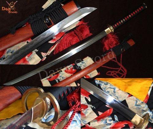 Traditional HANDmade Sanmai FOLDED STEEL CLAY TEMPERED JAPANESE katana SWORD(China (Mainland))