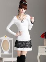 2014 New Dress Autumn Fashion Long Sleeve Dresses A-Line Mini Dress Women's Slim Casual Tops