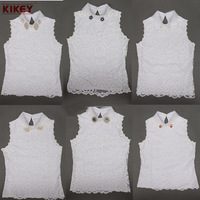 Arrive New Brand Lace Top 2014 Turn Down Collar V-Neck Vest T shirt Women Fashion Explosion Models White Crochet Top NZ623