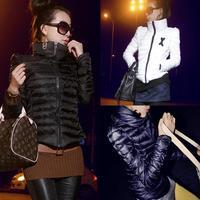 S-XXXL! 2014 new winter high collar from shoulder short paragraph Slim flu Down cotton padded jacket,Coat women