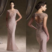Hot Sale New Beaded Open Back Sheath Long Lace Gown Elegant Evening Dresses Mother Of The Bride Dresses Plus Size Custom-Made