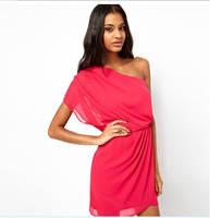 2014 Women Fashion Cute Solid Color Strapless One Shoulder Chiffon Dress Oblique Shoulder Beach Dress XS -XXL2 Colors