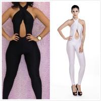 2014 Black& White Halter Neck bodysuits fashion irregular sexy white jumpsuits Bodycon Bodysuit party jumpsuits playsuit women