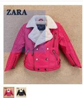 Children's wear fur more children with velvet, leather boys girls lambs wool coat lapels