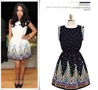 2014 New Fashion Women Casual Dress Vestidos De Fiesta Position Print High Quality Elastic Waistband Brand Celebrity Dresses