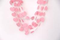 50ft  5*5.5cm pink love heart paper garlands handmade balloon hanging string  wedding baby shower wooden bridal decoration