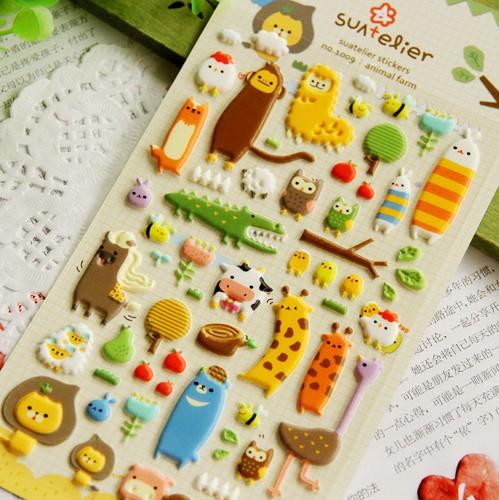 Wholesale,(1 Lot=7 Sets=7 Sheets) DIY Scrapbooking Paper 3D Zoo Diary Photo Album Stickers Wedding Decoration Animal Sticker(China (Mainland))