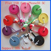 Wholesale 1000pcs/lot 1M 3ft Flat Noodle USB Data Sync Cable for iPhone 5 5C 5S 6 Plus Support IOS 7 8 Newest Version