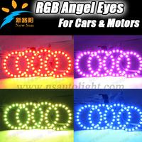 Color Changing RGB Angel Eyes Headlight Ring RGB LED Halo Rings 72mm 5050 SMD led angel eyes color-changing led kit