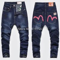 Free Shipping 2014 Men's Autumn Hiphop Denim Print Jeans Pants Male Loose Popular Teenage Long Trousers Personality Harem Pants