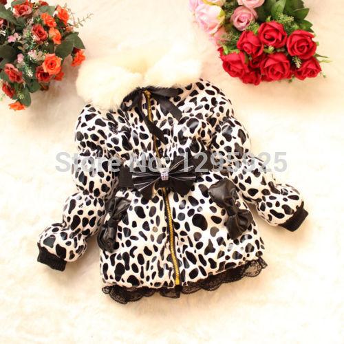 Kids Girl Clothes Winter Snowsuit Coat Kids Leopard Print Zip Jacket 2-6 Years(China (Mainland))