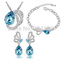 J020 Cheap Brand New Elegant Silver Plated Crystal Imitation Gemstone Necklace/Earrings/Bracelet European Jewelry Sets For Women