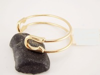Min 1pc Gold and Silver Safety Pin Shape Bangles Cuff Safety Pin Shape Bangles SZ001