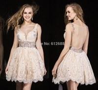 2014 Romantic Ball Gown Beading Waist Lace V-Neck Tank Sleeveless Sheer See Through Back Mini Length Fashion Cocktail Dress 2015