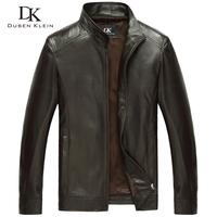 Brand  Nature Sheepskin men's jacket  slim designer Luxury Business Black/brown leather coats free shipping 109A