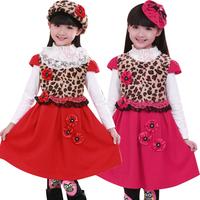 Children children's wear  girl   2014 dress autumn girl princess  vest  long sleeved dress