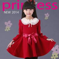 2014  children's wear  girl   dress with long sleeves children new princess
