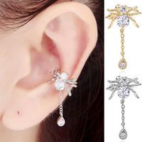 Spider Ear Cuff Wrap Cartilage Left Ear 1 pcs Gold/Silver Non Pierced Brincos With Austrian Stellux Cubic Zirconia For Women