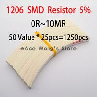 1206 SMD Resistor Kit  (0R~10MR) 5% 1/4W 0.25W 50 Value * 25pcs =1250pcs