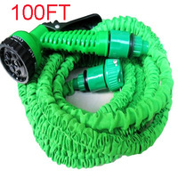 2014 HOT 100FT Expandable Flexible Garden pipe for Car Water hose reels with spray Gun EU /US connector & Blue,Green