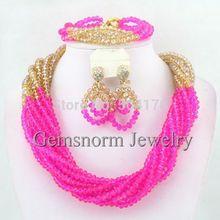 Amazing Fuchsia Dubai Gold Beads Jewelry Set Twisted Crystal Beads Party Jewelry Set 2014 New GS739