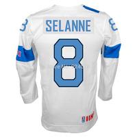 #8 Teemu Salanne Jersey Team Finland Official 2014 Replica White Hockey Jerseys - Custom Your Name & Number XXS-6XL