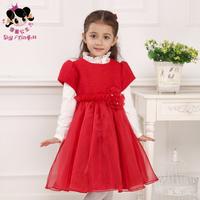The shy girl Princess kids children autumn and winter dress 2014 new princess  long sleeve wool  thickness
