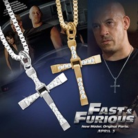 Hot sale !!! new popular moive fast and furious 6 necklace Dominic Toretto cross unisex pendant necklace