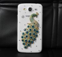 Handmade Fashion Diamond Blue Crystal Peacock Hard Case For For gt-i9152 i9158 Galaxy Mega i9150 Free Shipping