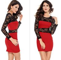 Hot 2014 New Women lace stitching sexy party dresses evening club dress vestido de festa bandage dress black red  purple 3 color