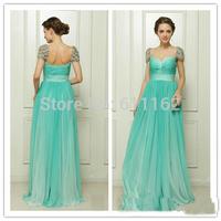 Sexy Vestidos De FieataCap Sleeve Formal Gown Crystal Beaded Empire Waist Backless Floor Length Chiffon Long GreenProm Dresses