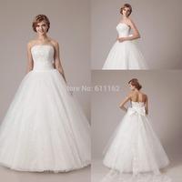 Vestido De Noiva Newest Strapless Appliques Beaded Bow A-line Organza Floor-length Beautiful Bridal Wedding Gown Wedding Dresses
