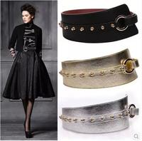 Ms. rivet big European and American fashion wide gold pin buckle belt,belts for women,women thick belt,automatic belt