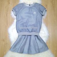 2014 Autumn New Arrival Fashion Luxury Designer Brand Women O Neck Short Sleeve Back Zipper Network 2 Pcs Sport Suit with Skirt