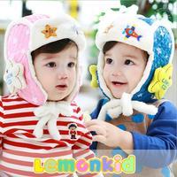 2014 New lemonkid winter Plus velvet warm Children Cap Thickened star Airplane Knitted Kids Bomber hats 24021#