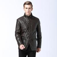 2014 new brand  Autumn Winter Men's Faux Leather Collar Jacket  tiny Warm Cotton Jacket