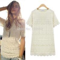 2014 fashionable short sleeve cotton crochet ladies' lace blouse