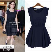 2014 New Brand  Women Plus Size Sleeveless Summer Dress Fashion Dress for Women L-5XL DFD-031
