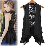 plus size women blouses chiffon lacepatchwork vest fashion jacket vest summer woman clothing black white 2 colors blusa feminina