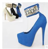 2014 The Lastest Women's Fashion Ethnic Style Glitter&Rhinestone A Word Belt  Pumps 16 CM Ultra High Heels Party Dress Pumps