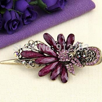 Free Shipping 5 pcs Peacock Metal Resin Rhinestone Purple Hair Pin Clip Fashion #50792(China (Mainland))