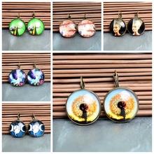 Vintage 2014 Cute Animal Plant Tree Stud Earrings For Women Glass Cabochon Letter Retro Earring Lovely
