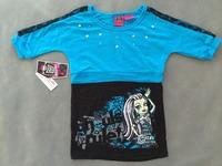 Retail one piece free shipping girl girls short sleeve t shirt monster high blue black top