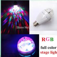 Free shipping 2pcs  E27 3W 85V-260V RGB Colorful Light LED Crystal Rotating Bulb Disco Party projector DJlaser Stage Light